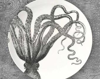Octopus I B & W melamine plate