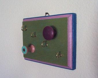 Bohemian Jewelry Organizer - Eclectic Boho Necklace Holder - Gypsy Wall Hanger - Decorative Jewelry Hook - Blue Green Purple Boho Dorm Decor