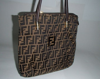 FENDI 1990S BAG Black on Beige Monogram Logo With Gold Hardware Unisex Tote Messenger Designer Bag