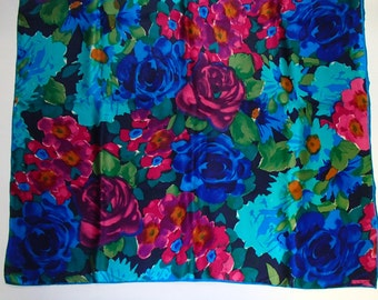 LUCKY13VINTAGE/ ECHO SILK Scarf/ Vibrant Summer Roses /Blues Pinks Greens Print