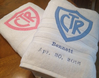 CTR Baptism towels with appliqué CTR and embroidered Name & Date