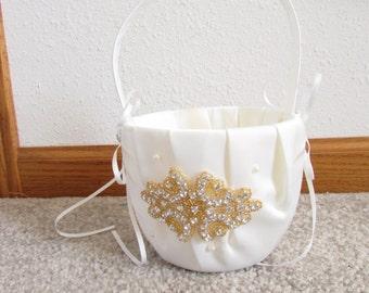 Gold rhinestone Ivory Flower Girl Basket - Ivory gold Rhinestone Flower Girl Basket