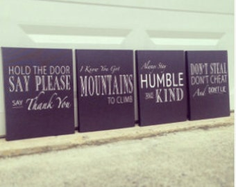 Humble And Kind, SET OF 4, Climb Mountains, Say Please, Don't Lie, Typographic Wall Art