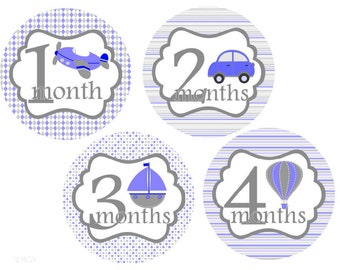 Month Stickers Boy Monthly Stickers Baby Month Stickers Airplane Hot Air Balloons Cars Baby Shower Gift