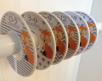 6 Baby Closet Dividers Fox Clothes Dividers Closet Organizers Baby Girl or Boy Baby Shower Gift Baby Nursery