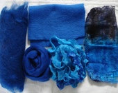 Carded Wool, Wool Roving, Silk Hankies, Silk Ribbon and pre-felted Wool for Felting and Craft projects - Silk and Wool Fibers