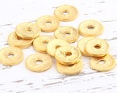 Matte Gold Heishi Hammered Disc Beads, Gold Disc Spacers, 9,5 mm, 15 pieces // GB-157