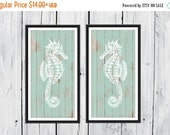 ONSALE Seahorse 2 Piece Print Set - Wood Background - Custom Colors