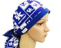 Ponytail Scrub Hat with ribbon ties - University of Kentucky Wildcats ponytail Scrub Hat