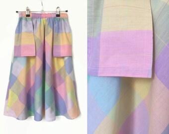 Pastel Check Skirt - Vintage 1970's Flared Skirt - Very Small / Teens / Girl's Skirt