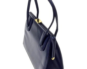 1960's Purse - 60's Hand Bag - Navy Blue Black - Leather Bag Suede Linings - Mad Men Style