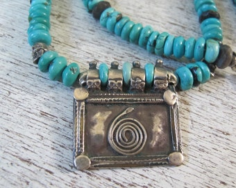 Kundalini Snake Antique Silver Indian Amulet with Turquoise