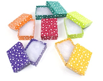 "12 Assorted Polka Dot Colored Kraft Presentation Cotton Filled Retail Jewelry Boxes 3""x2""x1"", Red Purple Orange Teal Green Yellow Boxes"