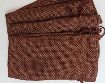 "24pcs ~Dark Burlap Organza bags -4x7"" w/Drawstring, Vintage Gift Bags, Wedding Favor Drawstring Sacks, Party Gift Bags, Jute Bags"