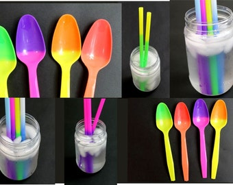 """NEW! 100pcs - 50 each Color changing Party Straws And Spoons, 9"""" Quality Reusable Recyclable Eco Friendly changing Drinking Straws Spoons"""