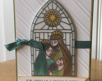 Stampin Up handmade Christmas card - non traditional stained glass holy family