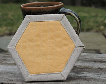 Yellow, Mug Rugs, Hexagons, Coasters, Quilted, Linen Coasters, Set of Four, Yellow Coasters, Modern Hostess Gift, Gift Exchange Idea