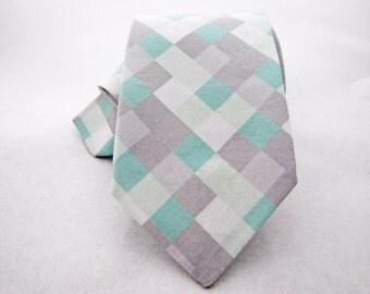 Men's Necktie - Mint & Grey Pixelate