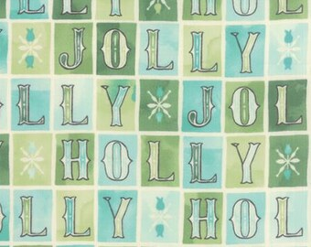 Holly Jolly in Aqua  - Evergreen by Basic Grey for Moda