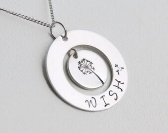 Silver Dandelion Necklace, Silver Wish Necklace, Silver Stamped Wish Necklace,