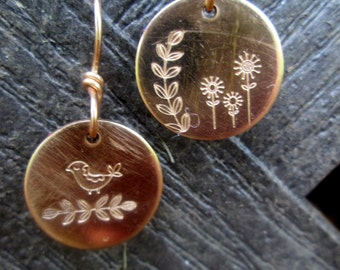 Mismatched Earrings Bronze Hand Stamped Jewelry Partridge Bird Leaves Dandelion Rose Gold Dangles Metalsmith Petite Minimalistic Metalwork