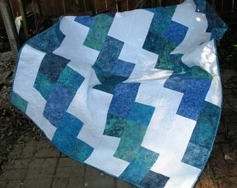Lap Quilt, Sofa Quilt, Quilted Throw - Calypso Batik Lap Quilt