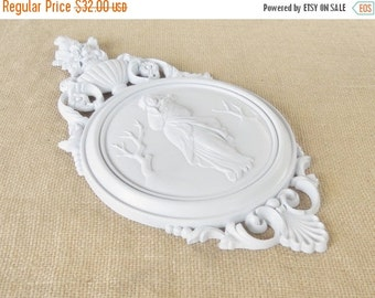 On Sale Shabby Chic/Cottage Decor Soft White Cameo Wall Art, Faux Plaster