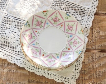 Lefton Sweet Cottage Style Pink Saucers Set of 4 Cottage Style Elegant Vintage Wedding Replacement China, Marked #3188
