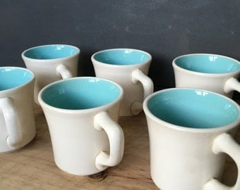 Set of Six 6 Taylor Smith Taylor Mugs Made in USA Diner White and Turquoise Chateau Buffet 1960's Robins Egg Blue Coffee  French Matching