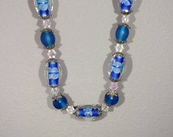 Blue Glass Bead and Crystal Element Necklace