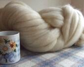 1 lb (16 ozs) Natural White Local Long Wool Blend Un-dyed Bulk Roving, knit crochet spin dye felt stuffing dryer balls wool fiber