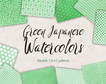 Japanese Paper Pack Green Digital Paper Pack Watercolor Graphics Green Background Sheets Green Wrapping paper Asian Paper Kit