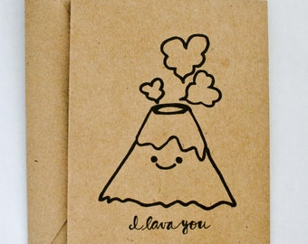 SALE 50% off - I Lava You Card | I Love You | Valentine l Anniversary | 4x5.5""