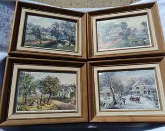 Currier & Ives / prints framed/ under glass/ The Four Seasons/ spring/summer/fall/winter/