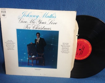 "Vintage, Johnny Mathis - ""Give Me Your Love For Christmas"", Holiday Vinyl LP Record Album, Traditional, My favorite Things, Jingle Bell Rock"