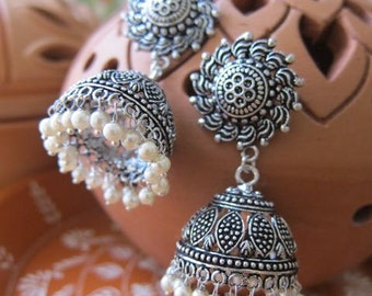 Traditional Jhumkas with pearls