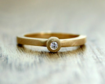 Moissanite Engagement Ring, Yellow Gold Engagement Ring, 9ct Recycled Gold, Alternative Engagement, Eco Wedding, Ethical