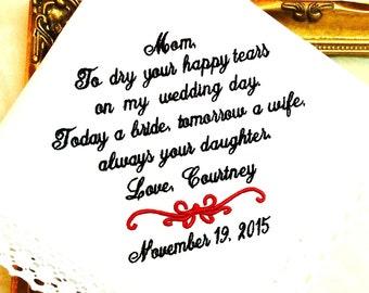 Wedding Handkerchief for Mother of the Bride - Handkerchief - Hankerchief  -Dry your happy Tears - TODAY a BRIDE - Hanky - Hankie - WEDDINGS