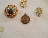 Lot of 4 Vintage Religious Medals/Pins  - Gold Tone - First Communion, Immaculate Heart of Mary, Mary and Jesus