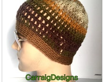 BUY1GET1HalfPRICE Designer mans mens unisex hand crocheted knitted classic beanie hat brown light gaming skull cap hippy gift handmade irish