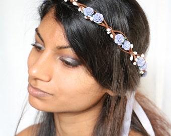 lavender purple floral flower rose headpiece hair crown wreath garland boho bridal wedding nature woodland