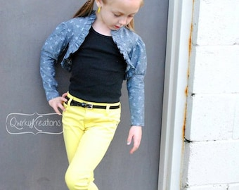 Lily Cropped Jacket Pattern, Sizes 6m, 12m, 18m, 2t, 3t, 4t, 5, 6, 7, 8, 10, 12, 14 Girls Sewing Patterns