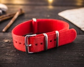 Red Nato - style strap ( 18mm) waterproof nylon strap, watch band, watch strap, waterproof strap