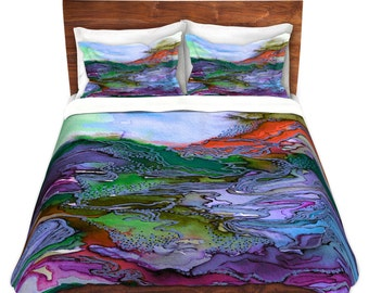 BRING ON BOHEMIA 3 Lavender Teal Green Art Duvet Covers King Queen Twin Size Decor Bedding Boho Abstract Colorful Nature Geological Bedroom
