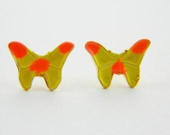 14k Gold Filled Yellow Butterfly Earrings