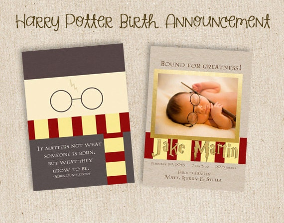 Two Sided Harry Potter Birth Announcementdigital Download