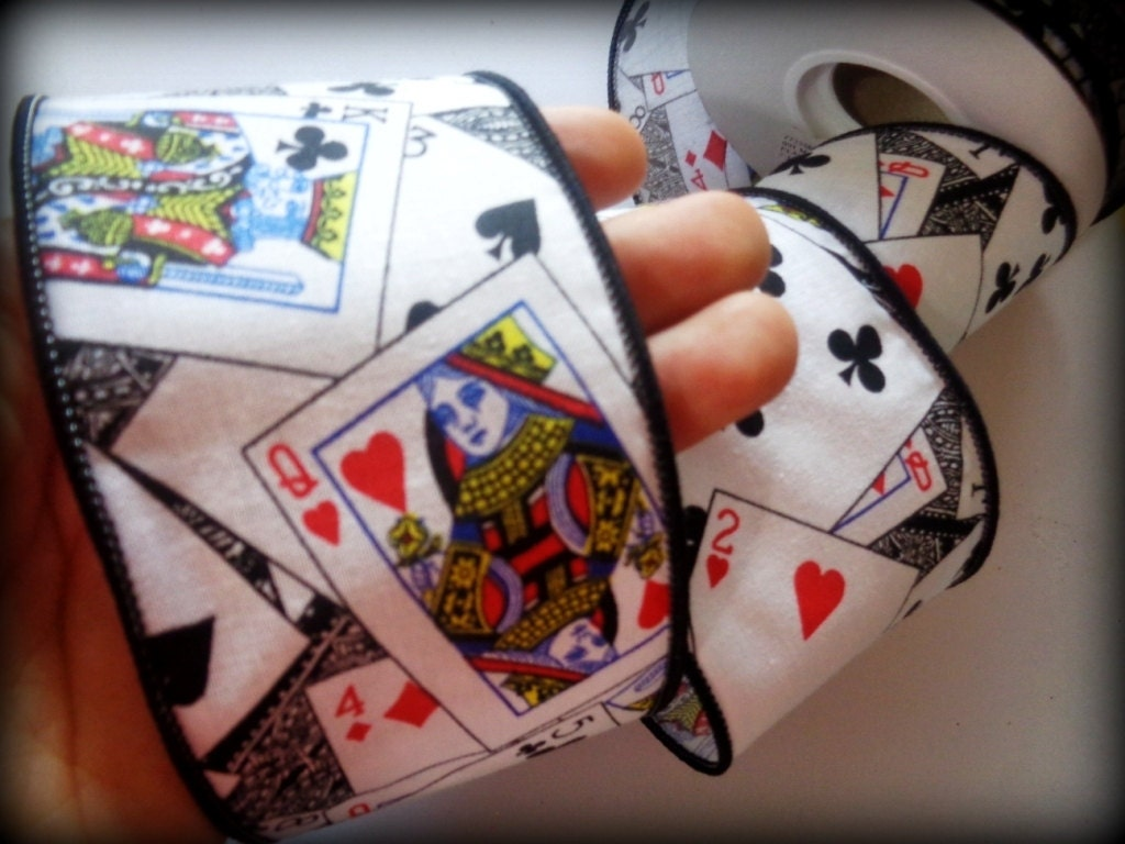 Wired Poker Cotton Ribbon Trim Playing Cards By