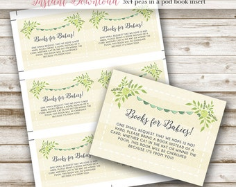 Two Peas In A Pod Baby Shower: Book Insert, 3x4, Twin Baby Shower, Printable, Gender Neutral, Blue, Green
