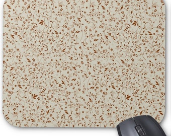 Earth Tone Flower Pattern Mouse Pad