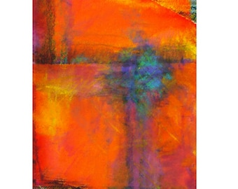 Colorful Abstract Stretched Canvas Art Print Titled - Wind in a Storm: Interaction of Orange